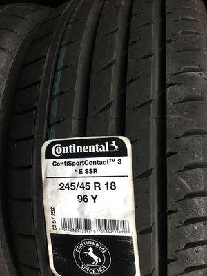 百世霸 定位 德製 馬牌輪胎CSC3 245/45/18 ssr失壓續跑胎6800/完工 bmw 米其淋zp rft