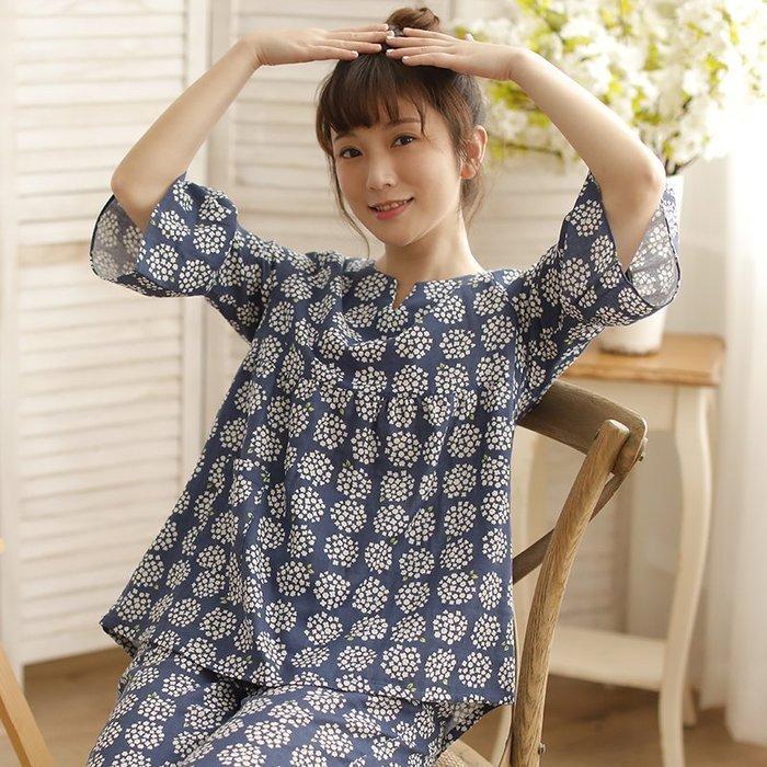春夏 日系 全棉雙層紗布 純棉 女士中袖 睡衣套 裝家居服 日本涼感材質 睡衣 休閒服套裝