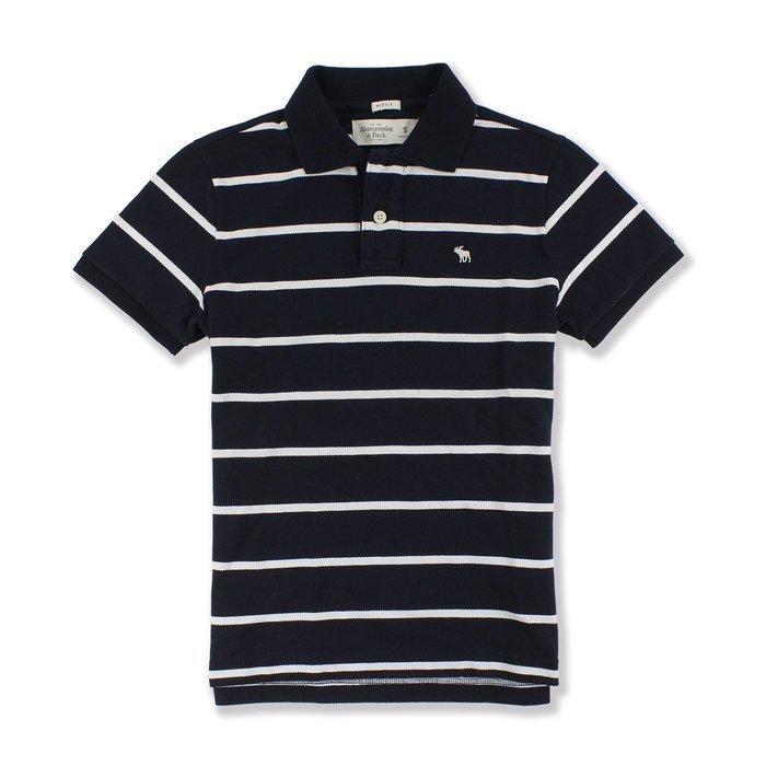 美國百分百【Abercrombie & Fitch】Polo衫 AF 短袖 上衣 麋鹿 深藍白 條紋 休閒衫 G551