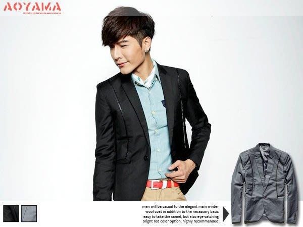 [青山~AOYAMA ] 韓版專櫃品緞帶設計單扣合身剪裁休閒西裝外套/襯衫穿搭 2色【EVS890】