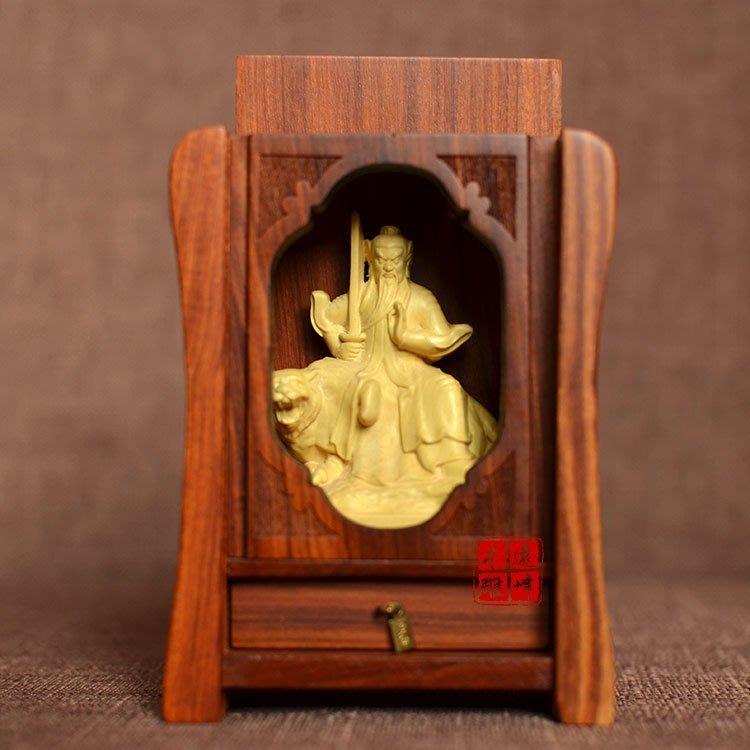 黃楊木雕道教張天師像隨身木質佛龕小佛盒迷你神堂佛堂供奉