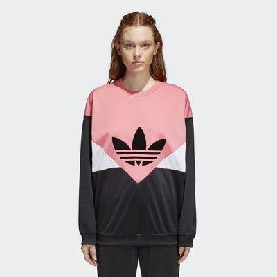 ADIDAS ORIGINALS CLRDO CY3479 粉紅色 撞色 logo 拼接 色塊 長袖 圓領 落肩 上衣