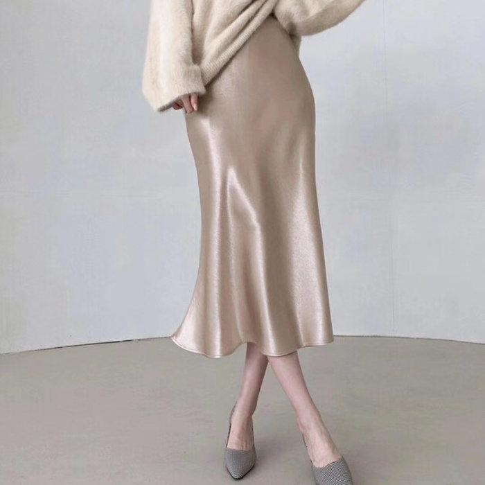 *~fuyumi boutique~*100%正韓 冬裝新款 緞面魚尾裙 香檳杏/咖杏 SM