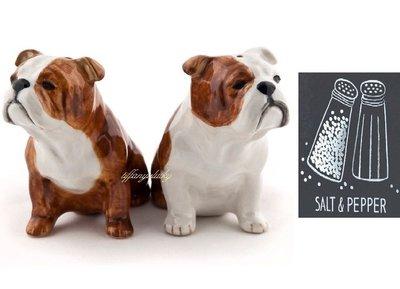 由英國知名 Quail 陶瓷公司專為帝國戰爭博物館設計【英國鬥牛犬造型.純手工繪製 陶瓷製 鹽罐&胡椒罐 二入禮盒】現貨