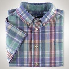全新美國Polo Ralph Lauren綠色格紋短袖襯衫 7T