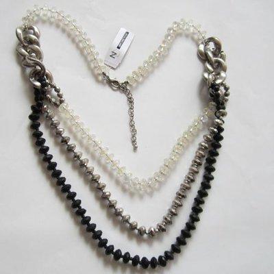 【飾界美~殺很大】歐美品牌 NEW DIRECTIONS 高質感三層三色串珠造型項鍊~現貨下標即售