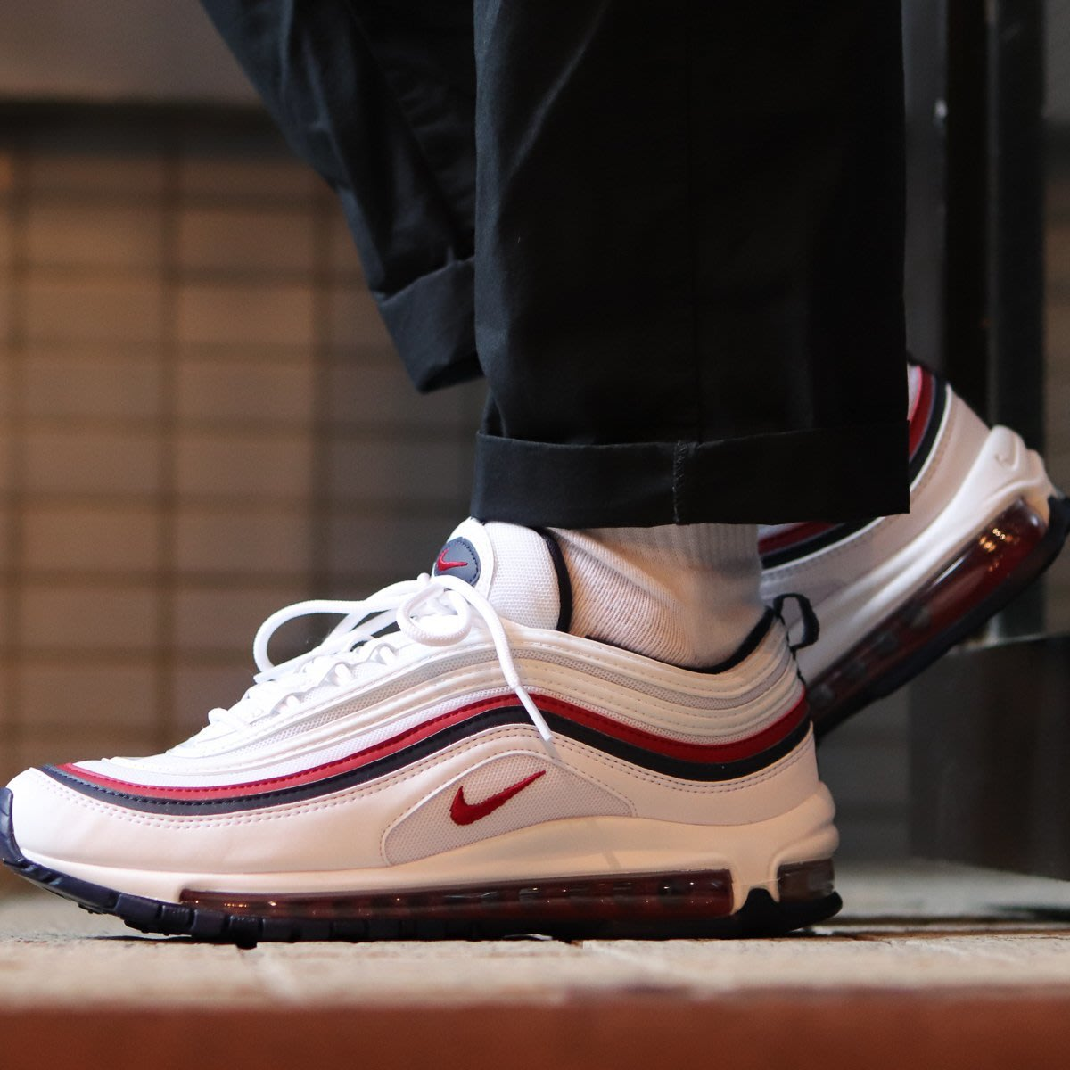 size 40 bb4d6 ee1a1 (日本代購)Nike Air Max 97 子彈鞋深藍白紅運動鞋情侶鞋大氣墊921733-102 附發票紅藍  Yahoo奇摩拍賣