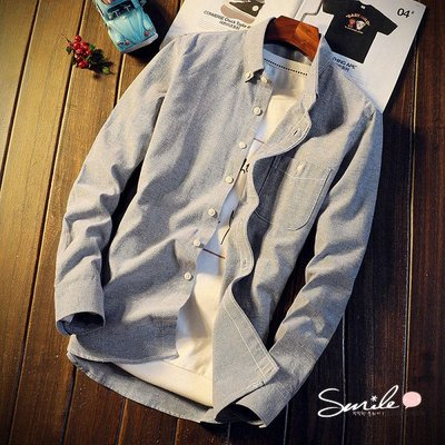【Y212】SMILE-輕熟休閒.秋冬季純色修身長袖襯衫上衣