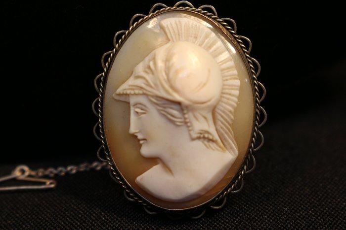 【家與收藏】特價極品珍藏法國百年古董精緻珍貴古希臘女戰神肖像純銀手工cameo珠寶胸針/墜子