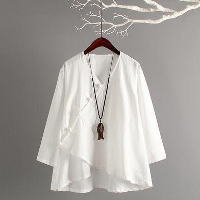 棉麻上衣 改良茶服民國服裝 氣質中國風複古—莎芭
