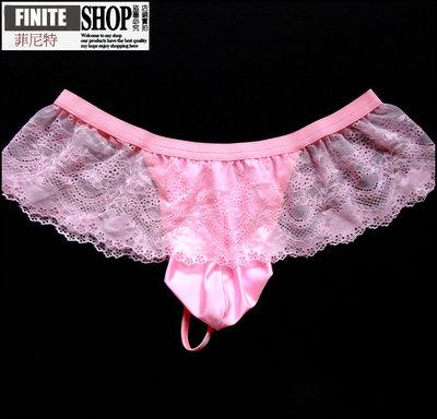 Finite-菲尼特-男士裙裝丁字褲性感透明蕾絲半包臀低腰U凸囊袋T褲騷內褲