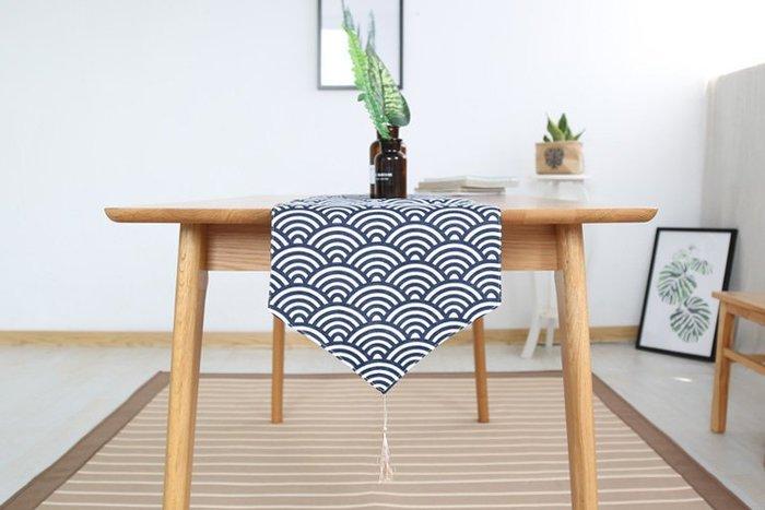 日式和風傳統青海波海浪紋樣深藍幾何圖案棉麻 桌旗裝飾布藝(30*140CM)_☆找好物FINDGOODS☆