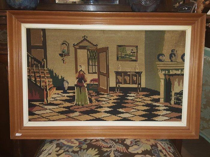 【卡卡頌 歐洲跳蚤市場 / 歐洲古董 】比利時老件_ 房內 手工針織 十字繡 掛畫 pa0115