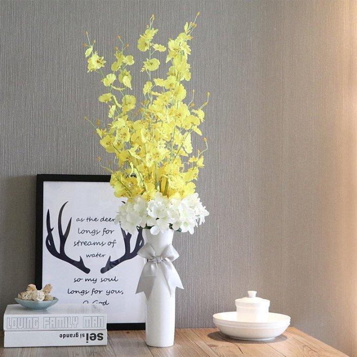 假花瓶 假花 仿真花 花器 花盆 玻璃 年花日韓白色陶瓷花瓶簡約現代花器套裝家飾客廳擺設花藝玻璃透明花插