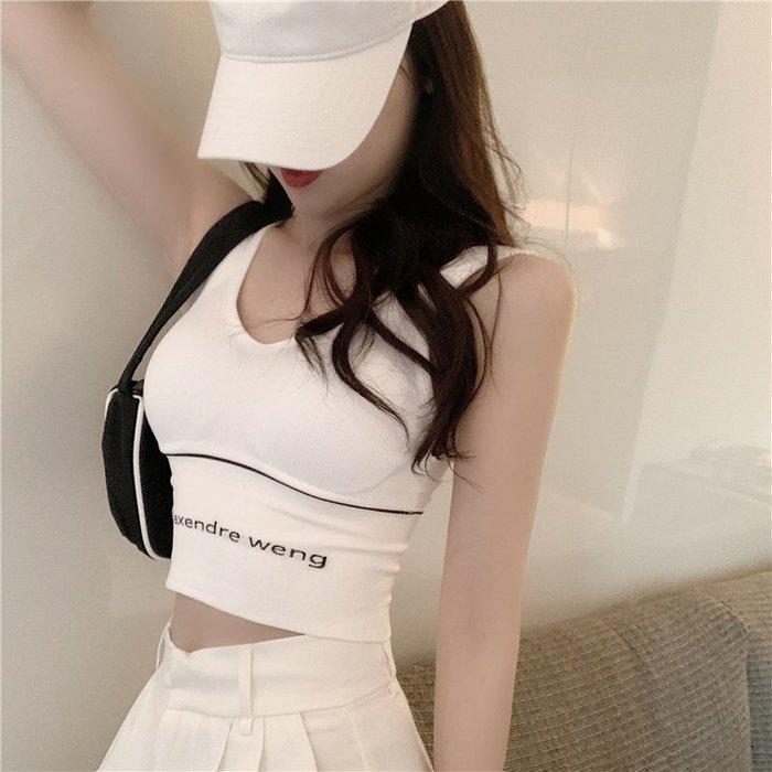 ❤Princess x Shop❤夏季外穿美背字母運動背心修身內搭小吊帶上衣無袖短款TJN15-15-1韓國同款女裝