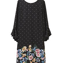 31 Sons de mode Black dot dots feminine floral pattern One piece Dress 黑色印花點點連身裙