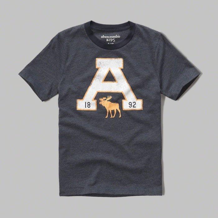 Maple麋鹿小舖 abercrombie&fitch * a&f 男童款藍色印花字母麋鹿短T*( 現貨 )