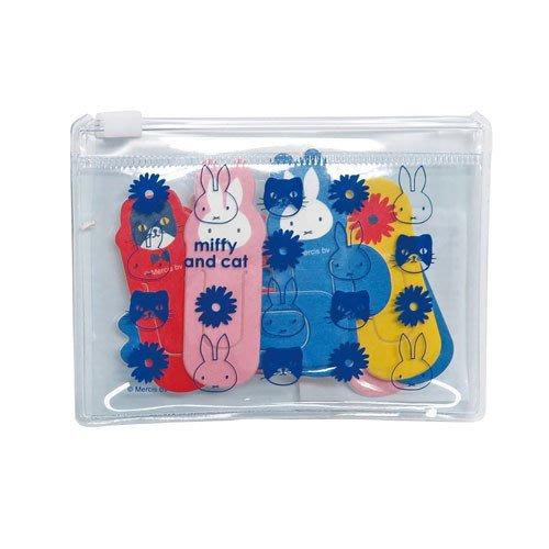 《散步生活雜貨-文具散步》日本製 Square - Miffy and cat 米飛兔 紙製 迴紋針組(含收納袋)