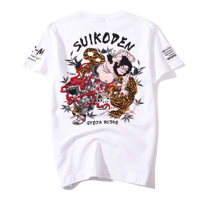 時尚服飾 爛漫娘純棉短袖t恤夏季中國民族風武松打虎圖