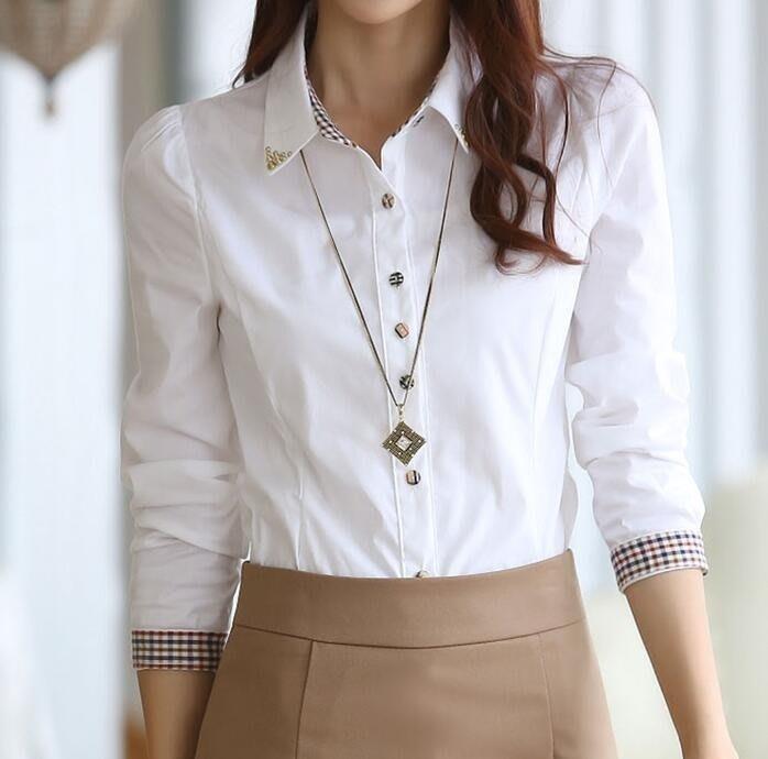女士正裝打底白色OL職業襯衫女長袖大碼工作服韓版學生