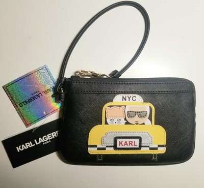 ❖客來兒美國集貨❖  KARL LAGERFELD 老佛爺 計程車系列 內雙層設計 手拿包 黑色 現貨在台 下標即可出貨