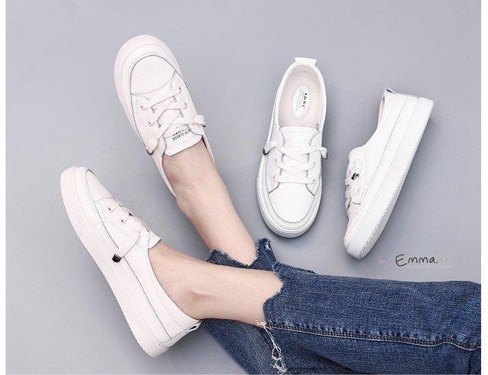 🎀 EmmaShop艾購物-正韓東大門百搭真皮淺口小白鞋/便鞋/大尺碼/防潑水