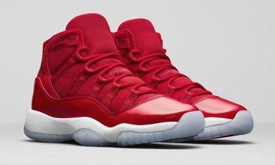 "(A.B.E)AIR JORDAN 11 BG ""Win Like 96"" 378038-623 紅色 11代 高筒 女潮鞋"