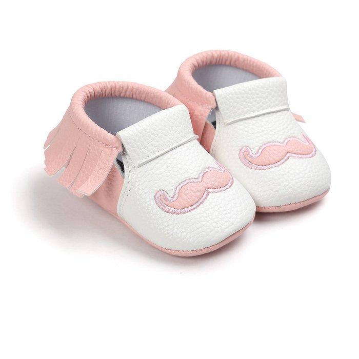 森林寶貝屋~粉色鬍子流蘇軟底鞋~學步鞋~不掉鞋~寶寶鞋~公主鞋~學走鞋~休閒鞋~嬰兒鞋~鬆緊帶設計~坐學步車穿~彌月禮