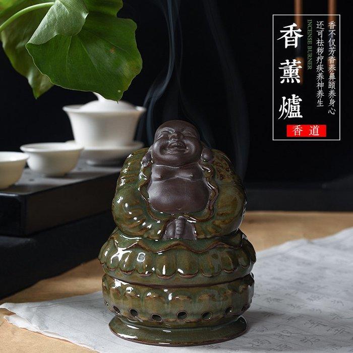 青瓷香爐家用室內仿古鐵胎柴窯陶瓷佛像沉檀香盤香線供佛