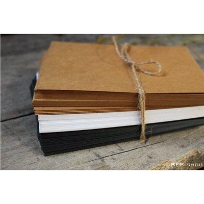 雙面空白明信片/一套20張@牛皮紙色象牙白色黑色DIY手作迷必備手帳貼紙聖誕卡片