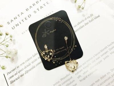 【海星 Starfish】|925銀針|韓 夢幻之星 絕美星月細緻不對稱造型耳環