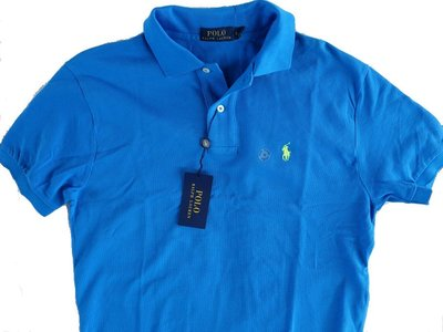 Polo Ralph Lauren RL 短袖 POLO 衫 經典網眼 縮水處理 螢光小馬 藍色 S【以靡賣場】