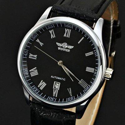 WINNER 百搭時尚商務休閑手表全自動機械日歷手表防水真皮腕時計