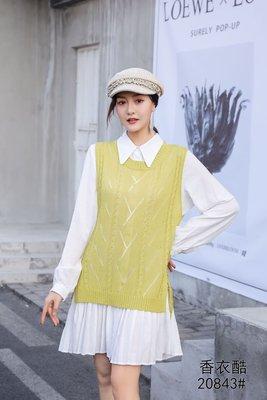 秋裝季毛織女装套装2020新款韓版針織毛衣馬甲+襯衫中長款衫裙兩件套連衣裙