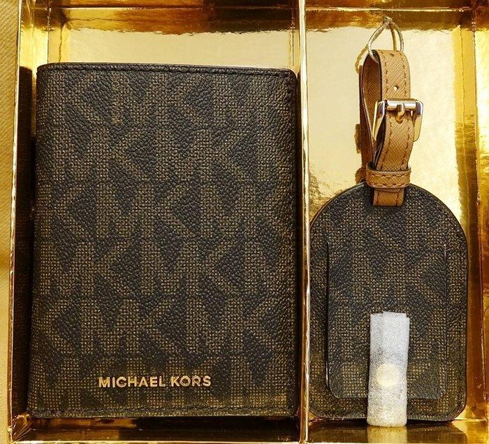 大降價!全新Michael Kors MK LOGO 經典款高質感護照夾行李吊牌禮盒,男女適用!無底價!本商品免運費!