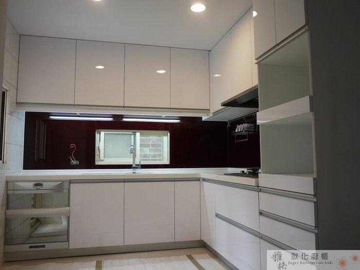 【雅格廚櫃】工廠直營~L字廚櫃、結晶鋼烤門板、林內二機烘碗機、油機、韓國850p防蟑槽