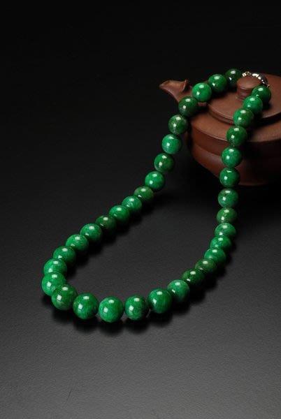 女人要有錢~緬甸天然A貨豔綠翡翠塔珠鍊14.5mm~16.65附中國寶石鑑定書~很大顆