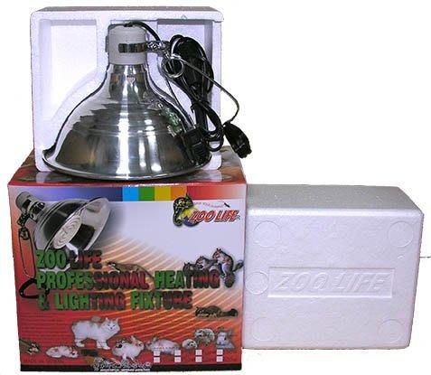(1-18B)ZOO LIFE120V350W白金品質遠紅外線陶瓷加溫器(完全無光) +350W控溫器+ 鋁合金製燈罩L