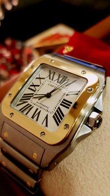 Cartier Santos 山度仕100 半金鋼帶大錶徑44mm