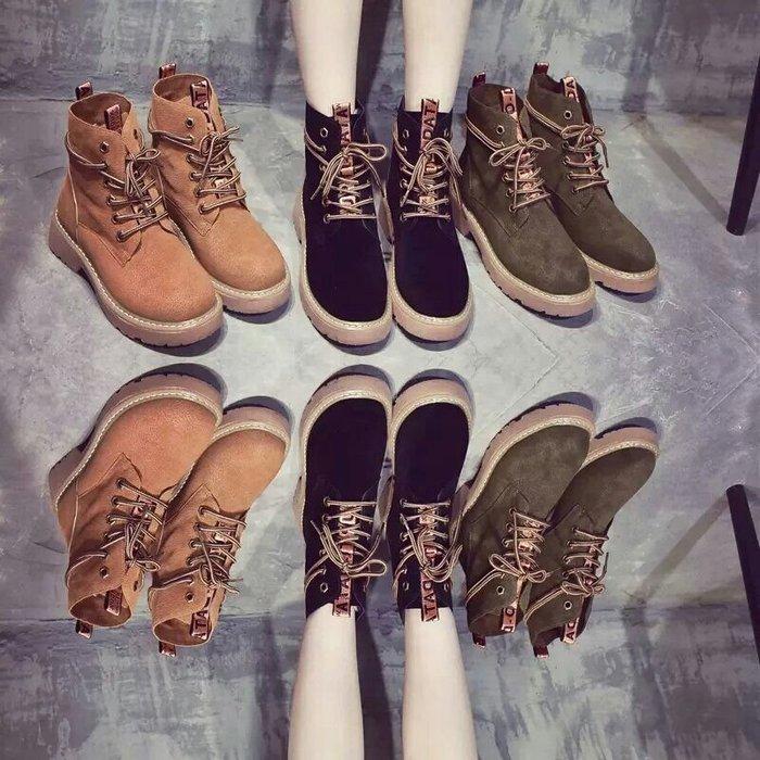 【🔊實拍】新款馬丁靴 女機車靴 學生靴 女靴子 平底百搭短靴【三色35~40】