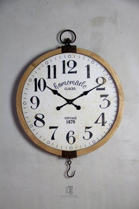 【曙muse】簡約復古大掛鐘 經典時鐘 仿鐵鏽木質邊框 裝飾品 loft 工業風 咖啡廳 民宿 餐廳 住家