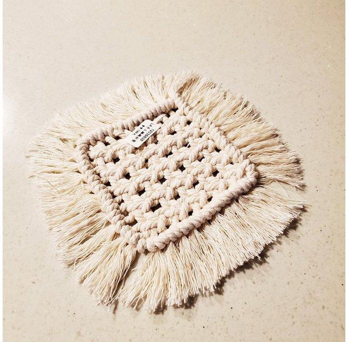 【萌古屋】手工棉繩白色正方形編織杯墊12035835