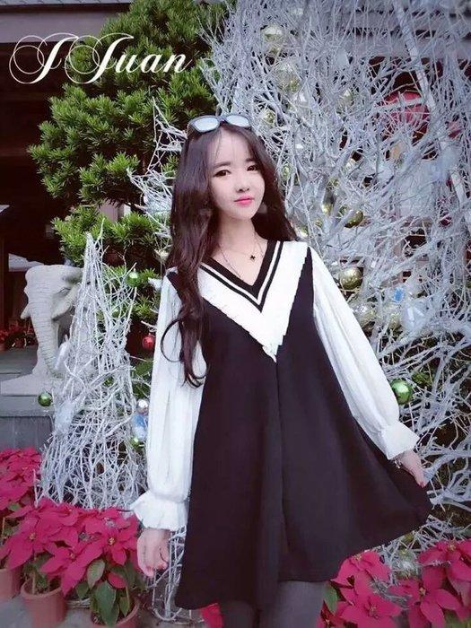 粉紅玫瑰精品屋~甜美百搭V領雙色拼接荷葉邊洋裝~