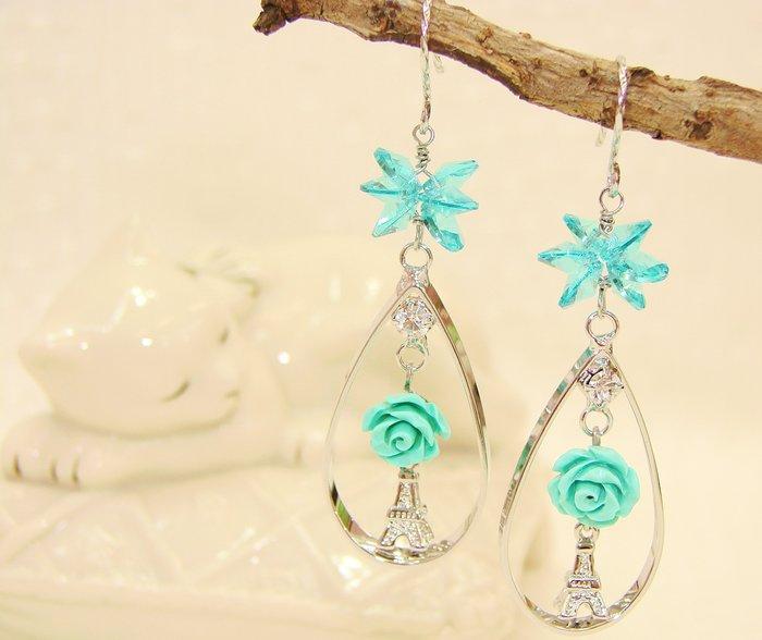 湖水藍花都 水晶垂墬耳環.Jill&Joe獨家盤線 手作設計 18Kgf抗過敏.雅緻鐵塔.施華洛世奇元素