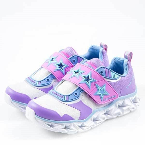 Skechers Power Strap Lights 銀紫 燈鞋 星星 魔鬼氈 中童 10955LSLLV -SP-