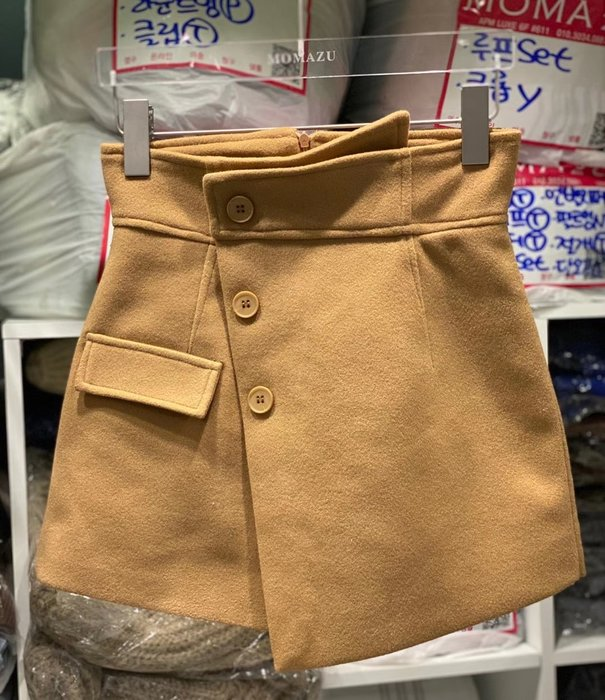 *~fuyumi boutique~*100%正韓 冬裝新款 斜排扣一片毛呢高腰褲裙 黑/黃 SML
