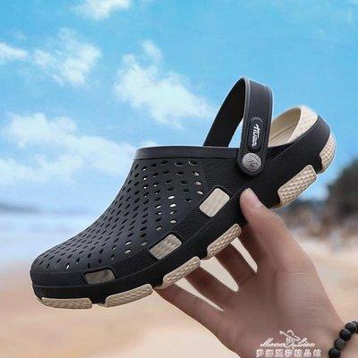洞洞鞋男士2019新款夏季外穿  布居...