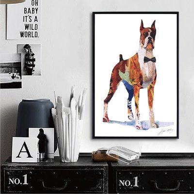 TROMSO-北歐時代風尚有框畫-奇幻紳士狗WA028-40x60cm/拼貼插畫店面布置大樹小屋【H0313084】N1