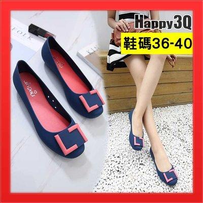 圓頭平底鞋女鞋拚色方扣矽膠雨鞋防水鞋果凍鞋-黑/灰/藍/紫36-40【AAA4378】