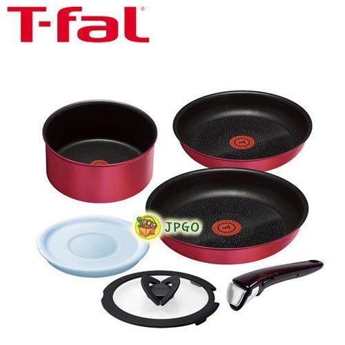 【JPGO】宅配限定!日本進口 T-fal 適用於瓦斯爐.烤箱.IH爐 可拆式手把 鈦塗層不沾鍋具6件#791